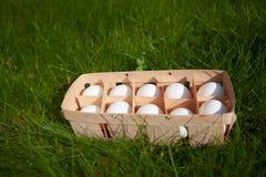 Huevos en una cesta de mimbre Fotos de archivo