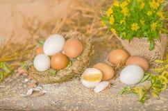 Huevos en una tabla de madera Fotografía de archivo