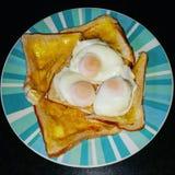 Huevos escalfados en tostada Fotos de archivo libres de regalías