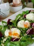 Huevos escalfados Open Foto de archivo libre de regalías