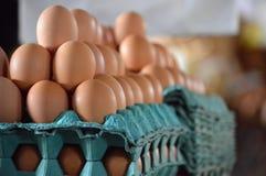 Huevos frescos apilados en los cartones en el mercado Fotografía de archivo libre de regalías