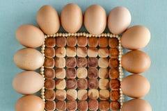 Huevos frescos de la granja Fotos de archivo