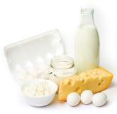 Huevos frescos y productos lácteos Imagen de archivo