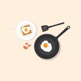 Huevos fritos en la cacerola Imagen de archivo libre de regalías