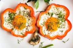 Huevos fritos en pimienta e hierbas en la placa Foto de archivo libre de regalías