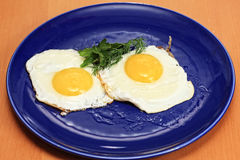 Huevos fritos en placa azul Fotos de archivo libres de regalías
