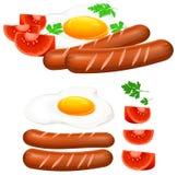 Huevos fritos, salchicha y tomate libre illustration