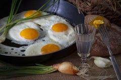 Huevos fritos y cebolla verde Fotografía de archivo libre de regalías