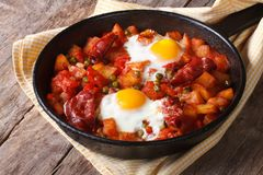 Huevos a la flamenca, closeup. Horizontal Stock Images