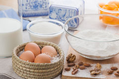 Huevos, leche, azúcar, harina Fotografía de archivo libre de regalías