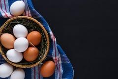 Huevos marrones aislados, fondo del pollo fresco de la agricultura biológica Fotos de archivo libres de regalías