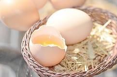 Huevos marrones crudos imagenes de archivo