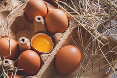 Huevos marrones del pollo fresco en cartón en fondo de madera rústico Imagenes de archivo