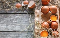 Huevos marrones del pollo fresco en cartón en fondo de madera rústico Fotografía de archivo