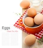 Huevos marrones frescos con leche Imagen de archivo