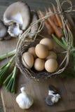 Huevos orgánicos frescos Fotografía de archivo