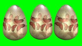 Huevos pintados lindos con las mariposas Animación hermosa de pascua con los huevos y la inscripción del este feliz 3d rinden ilustración del vector
