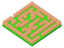 Huevos que fijan la base verde del laberinto o del laberinto en blanco detrás Imagen de archivo
