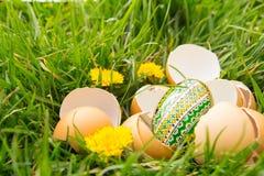 Huevos quebrados en hierba Foto de archivo libre de regalías