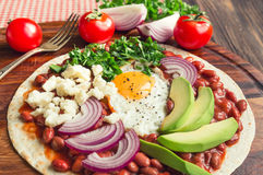 Huevos Rancheros Breakfast Pizza Stock Images