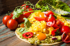 Huevos Rancheros. Home made huevos rancheros. A popular Mexican breakfast dish of eggs, tomato, avocado and chili peppers served on a corn tortilla Stock Images