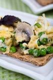Huevos revueltos con las setas en el pan del grano Foto de archivo libre de regalías