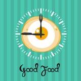 Huevos revueltos del reloj Tiempo de desayuno Imágenes de archivo libres de regalías