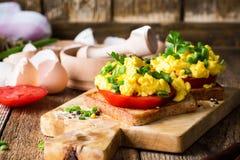 Huevos revueltos en dos pedazos de tostada con la cebolla verde y el tomat Fotografía de archivo libre de regalías