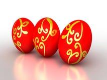 huevos rojos de 3d Pascua con el ornamento de oro Fotos de archivo libres de regalías