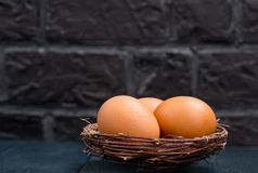 Huevos sin procesar del pollo Foto de archivo libre de regalías