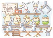 Huevos teñidos fábrica del conejo de Pascua stock de ilustración