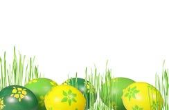 Huevos verdes y amarillos en hierba verde Fotos de archivo