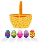 Huevos y cesta de Pascua Fotos de archivo libres de regalías