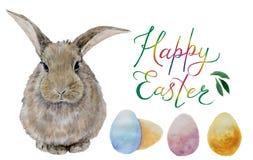 Huevos y conejo de la acuarela de Pascua stock de ilustración