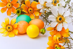 Huevos y flores coloridos de Pascua Imágenes de archivo libres de regalías