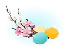 Huevos y flores de Pascua stock de ilustración
