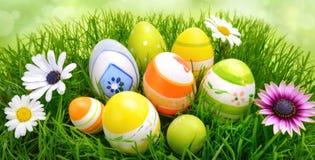 Huevos y flores de Pascua en hierba Fotos de archivo libres de regalías