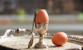 Huevos y huevera en una bandeja vieja foto de archivo libre de regalías
