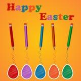 Huevos y lápices coloreados fondo del ejemplo del vector Stock de ilustración