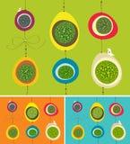 Huevos y pájaros coloridos de la ejecución en primavera Imagen de archivo