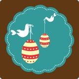 Huevos y pájaros decorativos - Pascua feliz stock de ilustración