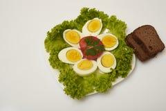 Huevos y pan hervidos Imagenes de archivo