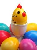 Huevos y pollo coloreados de Pascua Foto de archivo libre de regalías