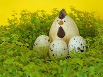 Huevos y pollos de Pascua en los adornos de la primavera y de Pascua de la jerarquía Fotos de archivo libres de regalías