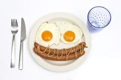 Huevos y salchicha Foto de archivo