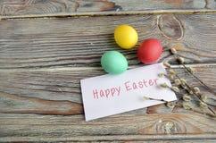 Huevos y sauce del color de Pascua Fotos de archivo libres de regalías