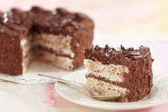 Huevos y torta de chocolate Imagen de archivo