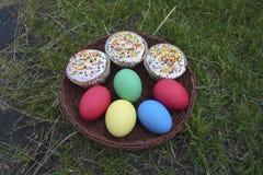 Huevos y tortas coloreados de Pascua en la hierba Fotografía de archivo libre de regalías