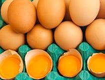 Huevos y yemas de huevo de Brown Fotografía de archivo libre de regalías