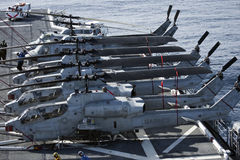 Huey and Cobra Helicopters onboard the USS Peleliu Royalty Free Stock Photo